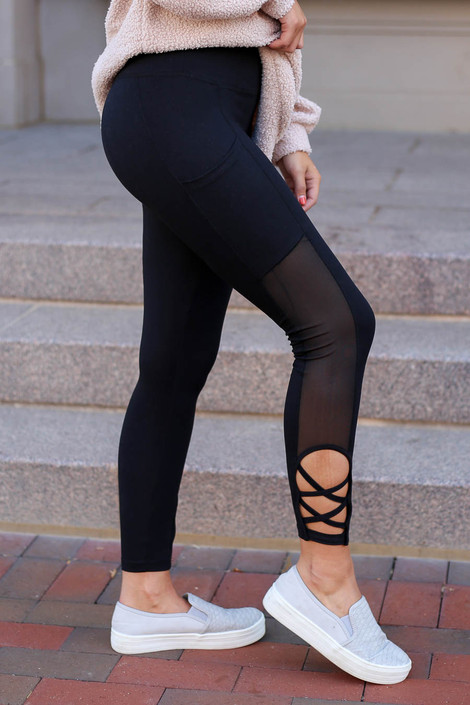 Black - Criss Cross and Mesh Leggings