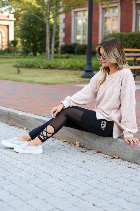 Black - Criss Cross and Mesh Leggings Sitting View