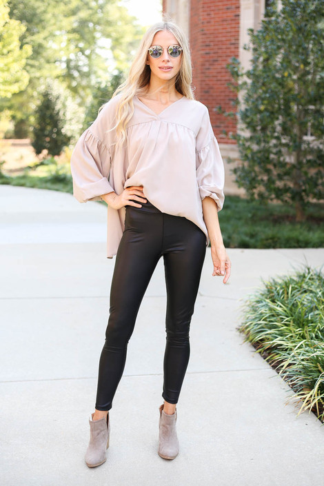 Black - Faux Leather 7/8 Leggings