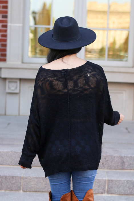 Dress Up Model wearing Black Lightweight Knit Sweater Back View