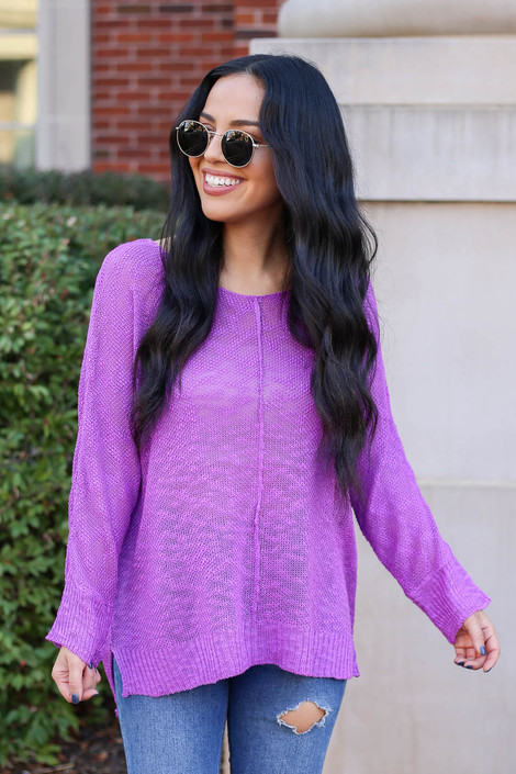 Purple - Lightweight Knit Sweater