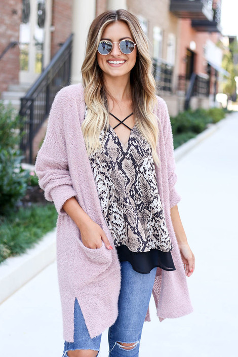 Snake - Criss-Cross Strappy Tank with Pink Cardigan