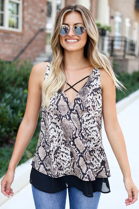 Dress Up Model wearing Snakeskin Criss-Cross Strappy Tank Front View