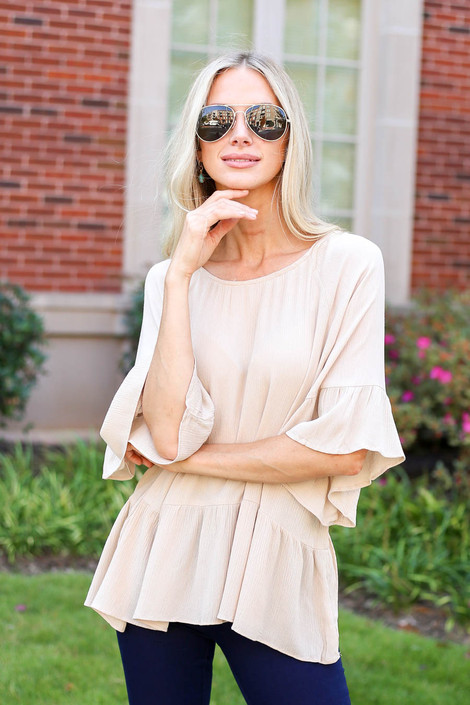 Dress Up Model wearing Ivory Ruffle Sleeve Peplum Top