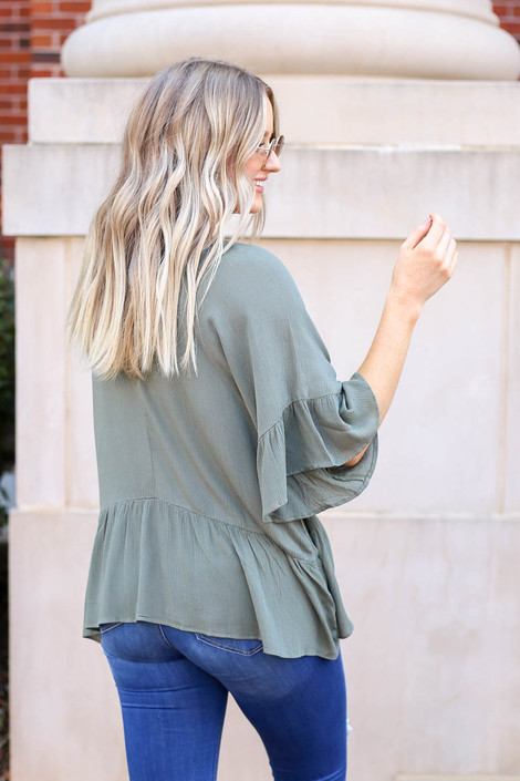 Olive - Ruffle Sleeve Peplum Top Back View