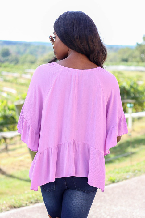 Purple - Ruffle Sleeve Peplum Top Back View