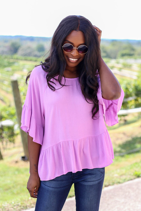 Purple - Ruffle Sleeve Peplum Top