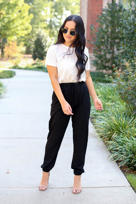 Dress Up Model wearing Black High Waisted Joggers