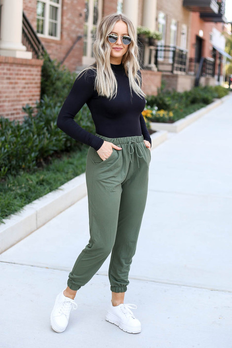 Dress Up Model wearing Olive High Waisted Joggers