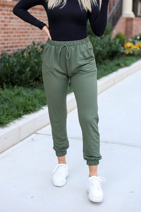 Olive - High Waisted Joggers