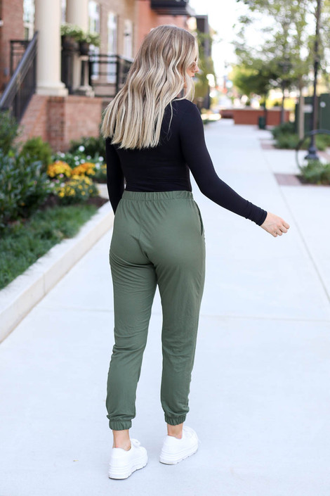 Dress Up Model wearing Olive High Waisted Joggers Back View