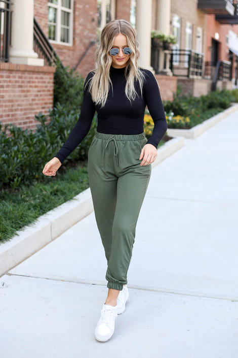 Olive - High Waisted Joggers Full View