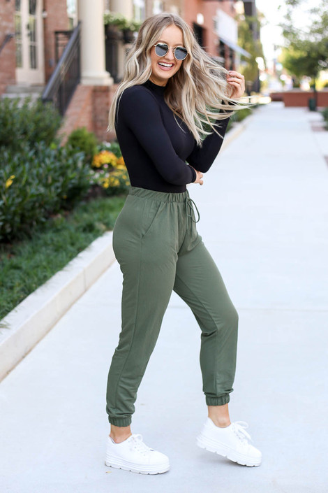 Dress Up Model wearing Olive High Waisted Joggers Side View