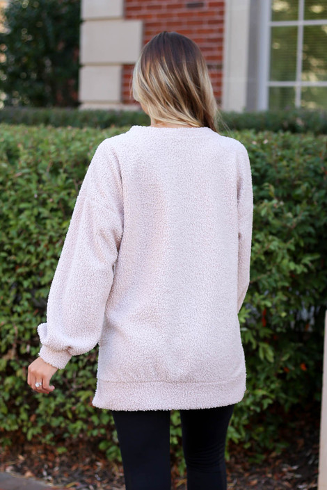 Dress Up Model wearing Blush Teddy Longline Pullover Back View
