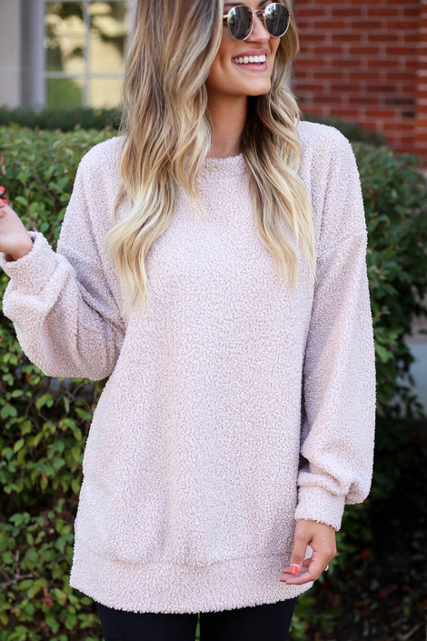 Blush - Teddy Longline Pullover Detail View