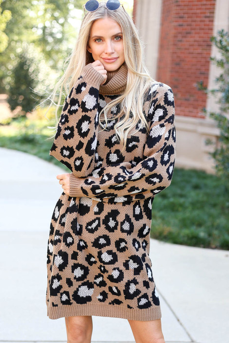 Mocha - Turtleneck Leopard Print Sweater Dress