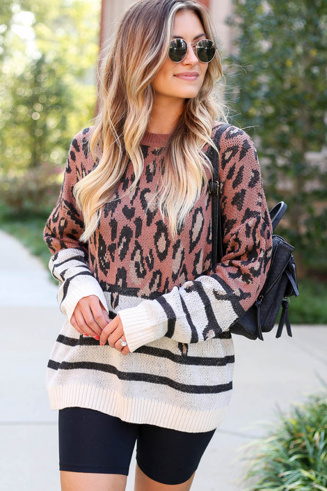 Rust - Leopard + Striped Color Block Sweater
