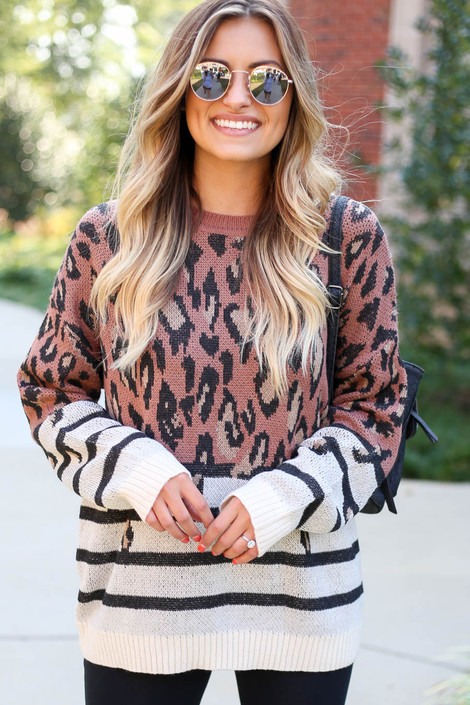 Dress Up Model wearing Leopard + Striped Color Block Sweater Front View