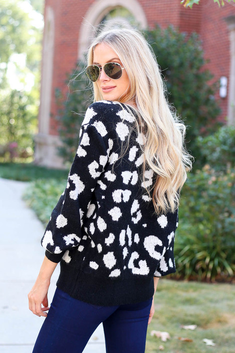 Black - Leopard Print V-Neck Sweater Back View