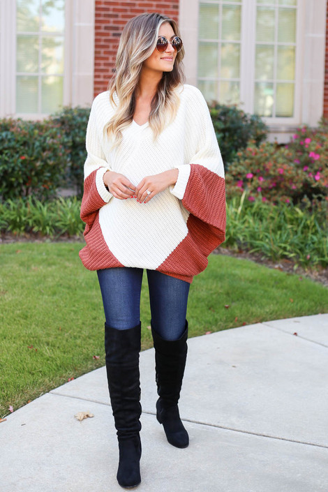 Rust - Oversized Sweater Poncho