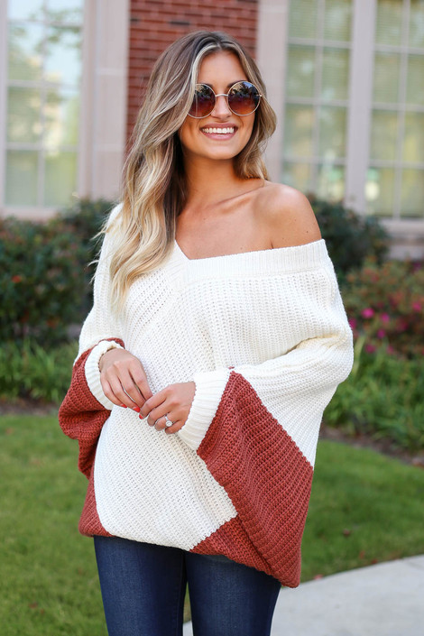 Rust - Oversized Sweater Poncho Side View