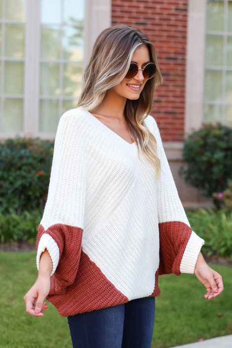 Rust - Oversized Sweater Poncho Side View Left