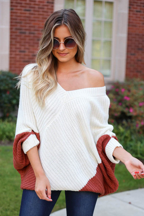 Rust - Oversized Sweater Poncho Front View