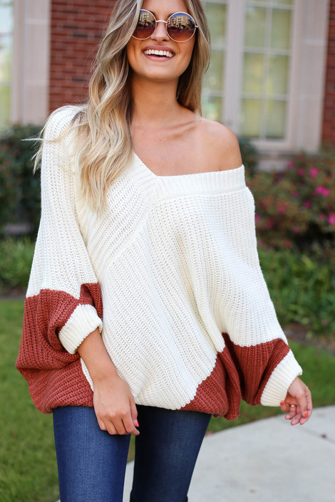 Rust - Oversized Sweater Poncho Off the Shoulder
