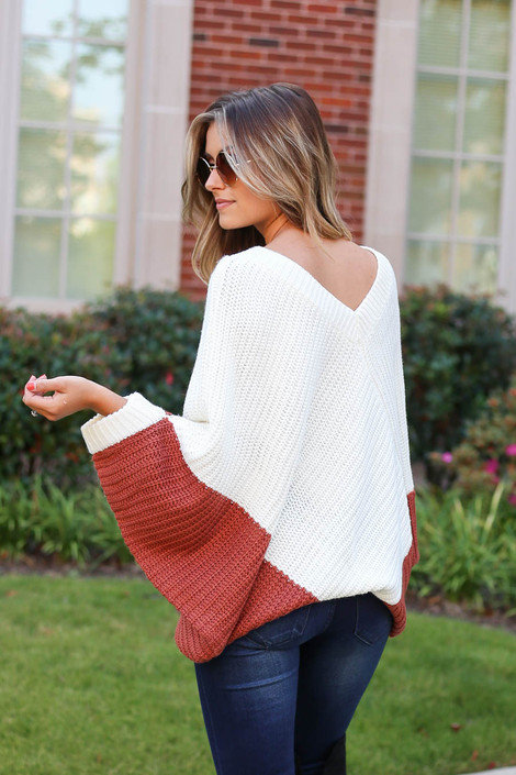 Rust - Oversized Sweater Poncho Off Back View