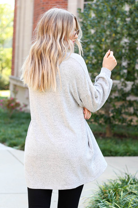 Dress Up Model wearing Heather Grey Cloud Fleece Knit Cardigan Back View