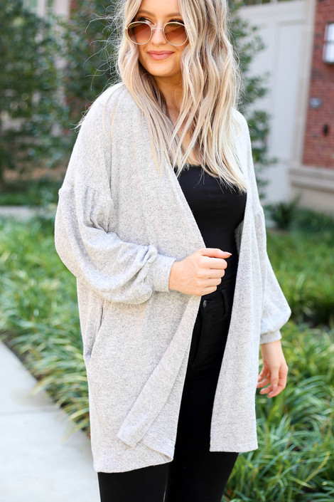 Dress Up Model wearing Heather Grey Cloud Fleece Knit Cardigan