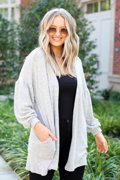 Heather Grey - Cloud Fleece Knit Cardigan