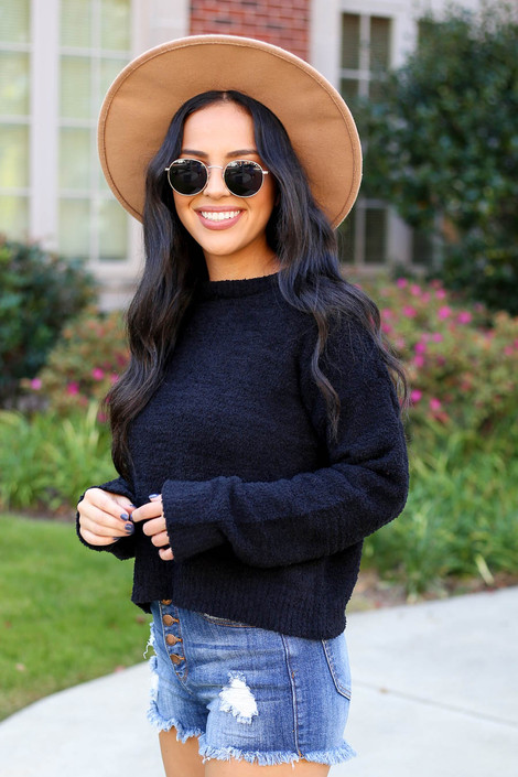 Dress Up Model wearing Black Cropped Fuzzy Knit Sweater