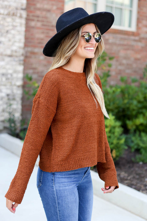 Brown - Cropped Fuzzy Knit Sweater Side View