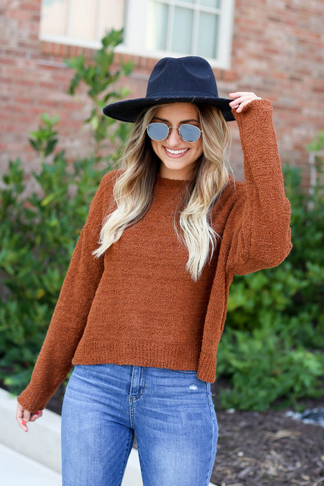 Brown - Cropped Fuzzy Knit Sweater