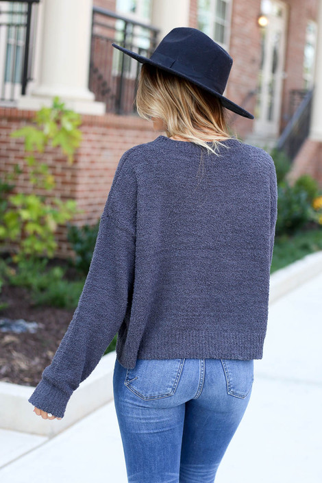 Dress Up Model wearing Charcoal Cropped Fuzzy Knit Sweater Back View
