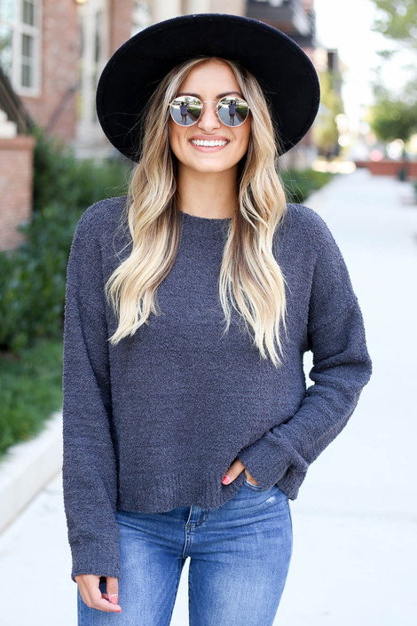 Charcoal - Cropped Fuzzy Knit Sweater