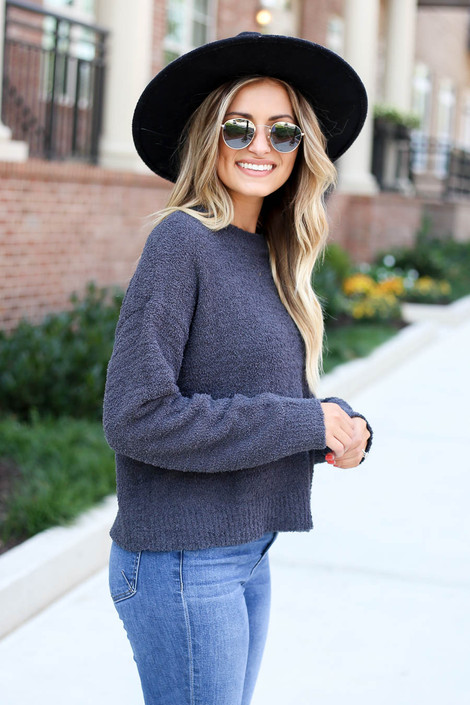 Charcoal - Cropped Fuzzy Knit Sweater Side View