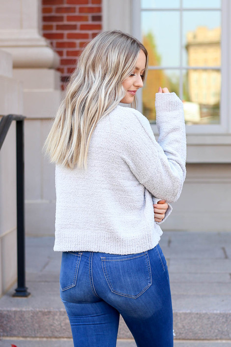 Grey - Cropped Fuzzy Knit Sweater Back View