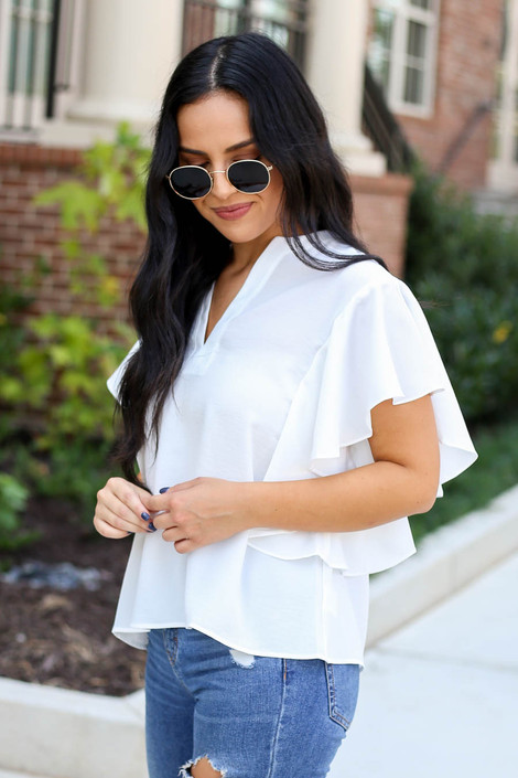 White - Flutter Sleeve Blouse