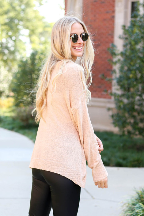 Pink - Open Knit Lightweight Sweater Back View