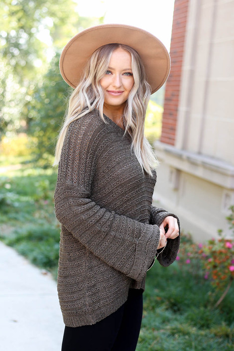 Olive - Open Knit Slouchy Sweater Side View