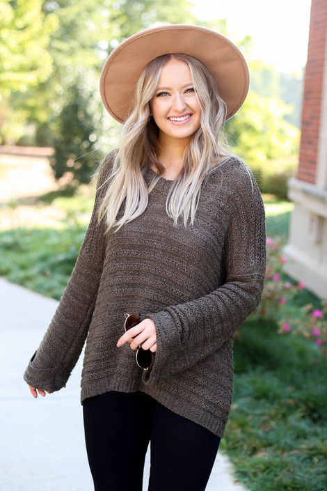 Dress Up Model wearing Olive Open Knit Slouchy Sweater