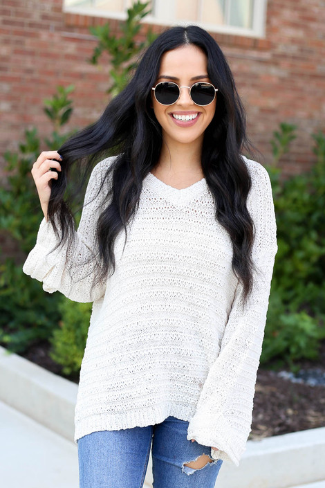 Dress Up Model wearing Ivory Open Knit Slouchy Sweater