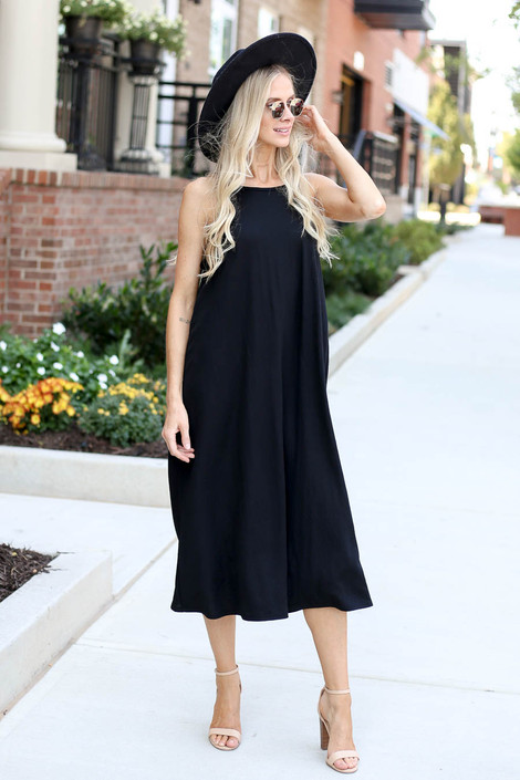 Black - Sleeveless Midi Dress