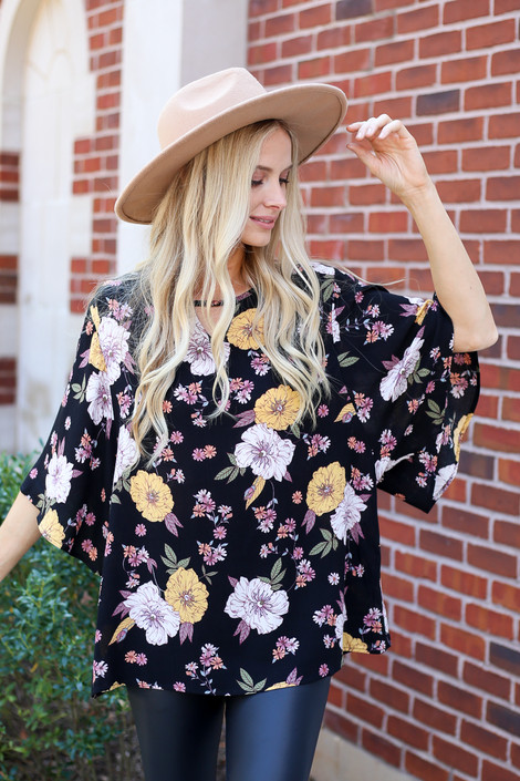 Black - Floral Wide Sleeve Blouse from Dress Up