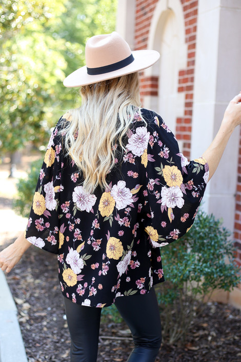 Dress Up Model wearing Black Floral Wide Sleeve Blouse Back View