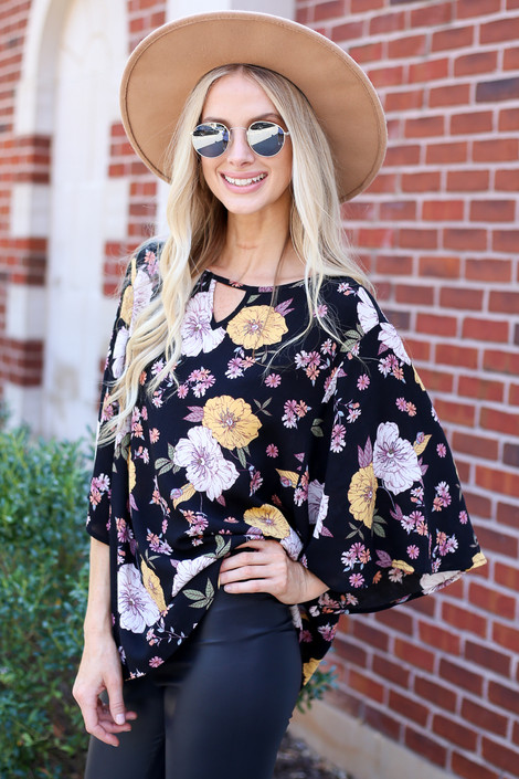 Dress Up Model wearing Black Floral Wide Sleeve Blouse Side View