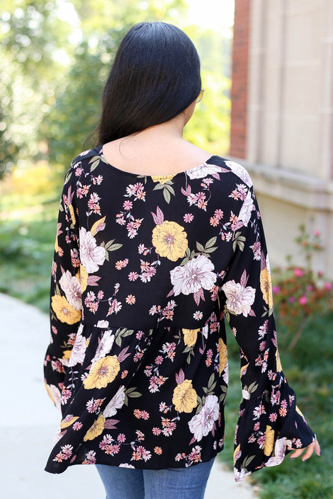 Black - Floral Bell Sleeve Babydoll Blouse Back View