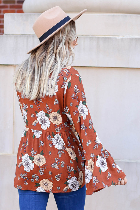 Dress Up Model wearing Rust Floral Bell Sleeve Babydoll Blouse Back View